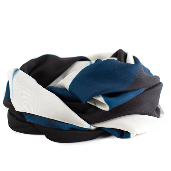 Denovembre / Color Block Scarf, Blue/Black