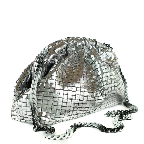 Maria La Rosa / Ribbon Clutch, Silver Metallic