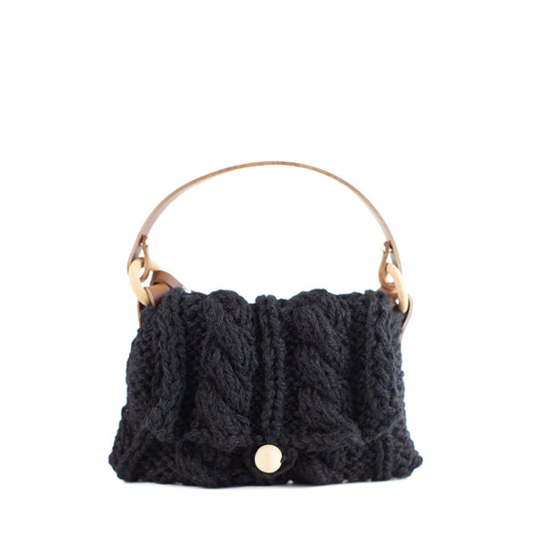 Muuñ / Mini Cable Knit Wool Bag, Black
