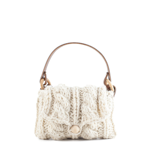 Muuñ / Mini Cable Knit Wool Bag, Cream