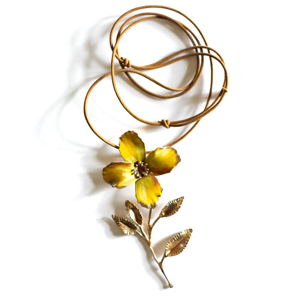 Renard Bijoux / Flower, Yellow Pendant