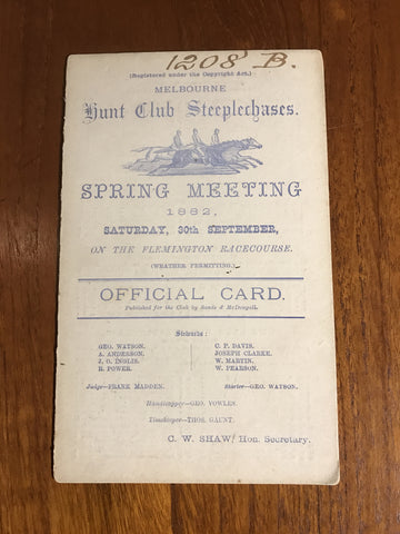 1882 Melbourne Hunt Club at Flemington - Card
