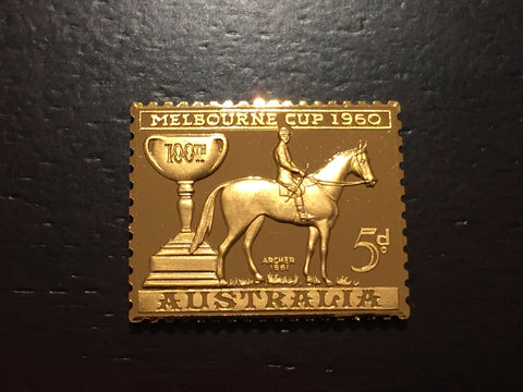 24 carat gold plated sterling silver first Melbourne Cup stamp commorative