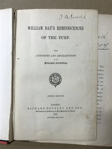 William Day's Reminicences of the turf