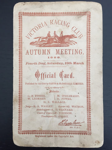 1888 Autumn Carnival Malua race card