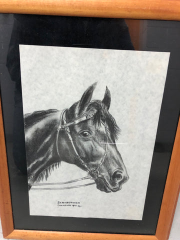 3. Framed - Famous Horses Sketch - Bernborough