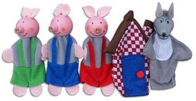 Wooden Toy 5 Finger Puppets 'Three Little Pigs' with 3 Bedtime Stories