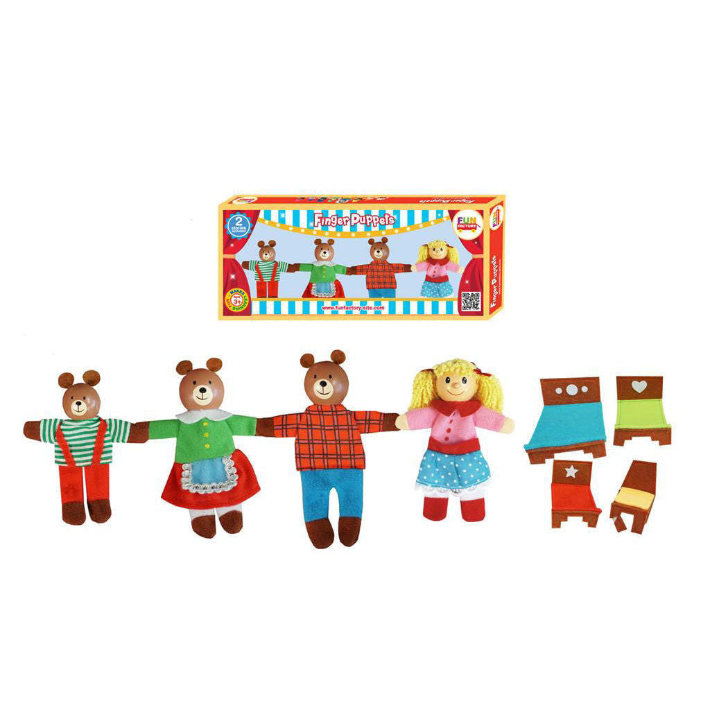 FUN FACTORY - Wooden 'Goldilocks and the Three Bears' Finger Puppet Set