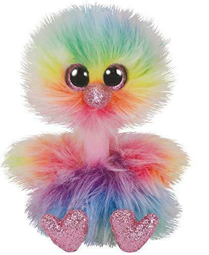 "TY Beanie Boos Regular Size ""ASHA' Multi-Colour Ostrich"