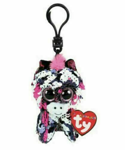 TY Beanie Boos Flipables Clip-On Key Ring -Zoe The Zebra (METAL RING)
