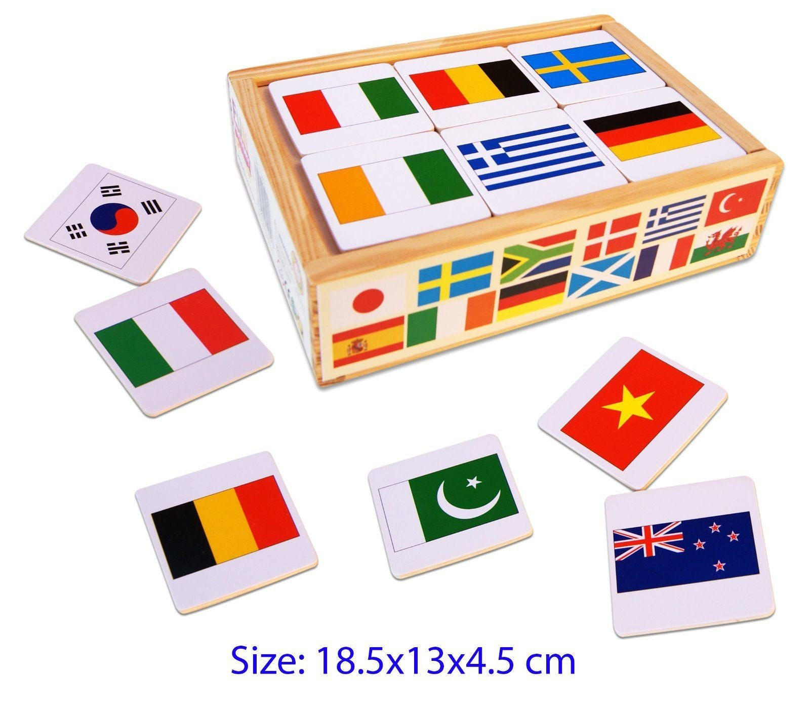 Wooden Toy Memory Game with 24 matching Flags of the World