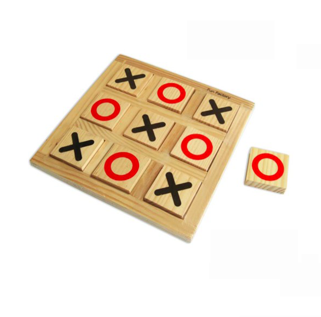FUN FACTORY - 15x15cm Wooden Noughts and Crosses Board Game