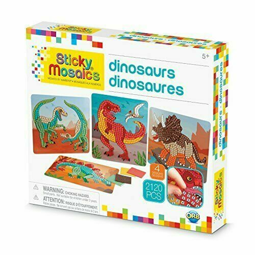 Orbtoys STICKY MOSAICS - Dinosaurs 4Pk with 2120 sequins in 13 asst styles