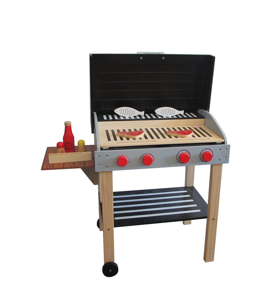 Wooden Toy Barbeque with Four Dials, Steaks, Fish and Accessories