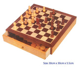 FUN FACTORY - Wooden Deluxe Chess & Checkers Set with Drawers