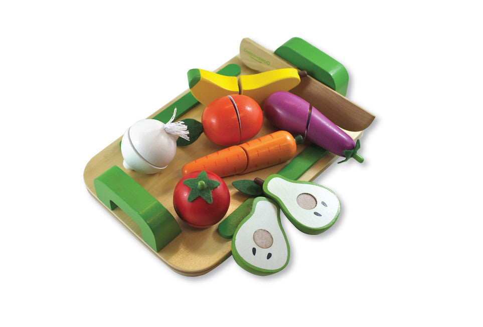 DISCOVEROO Wooden Toy Pretend Food 9pce Fruit & Veg Cutting Set incl Wooden Tray & Slicer