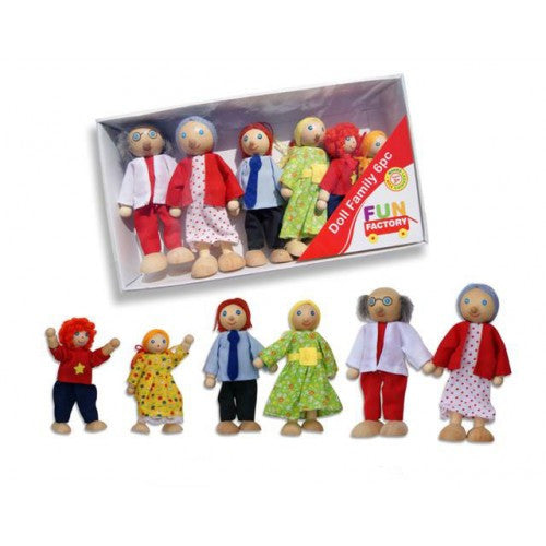 FUN FACTORY - Wooden Toy Pack of 6 Dressed 'Dolls Family' with Mum, Dad & Kids