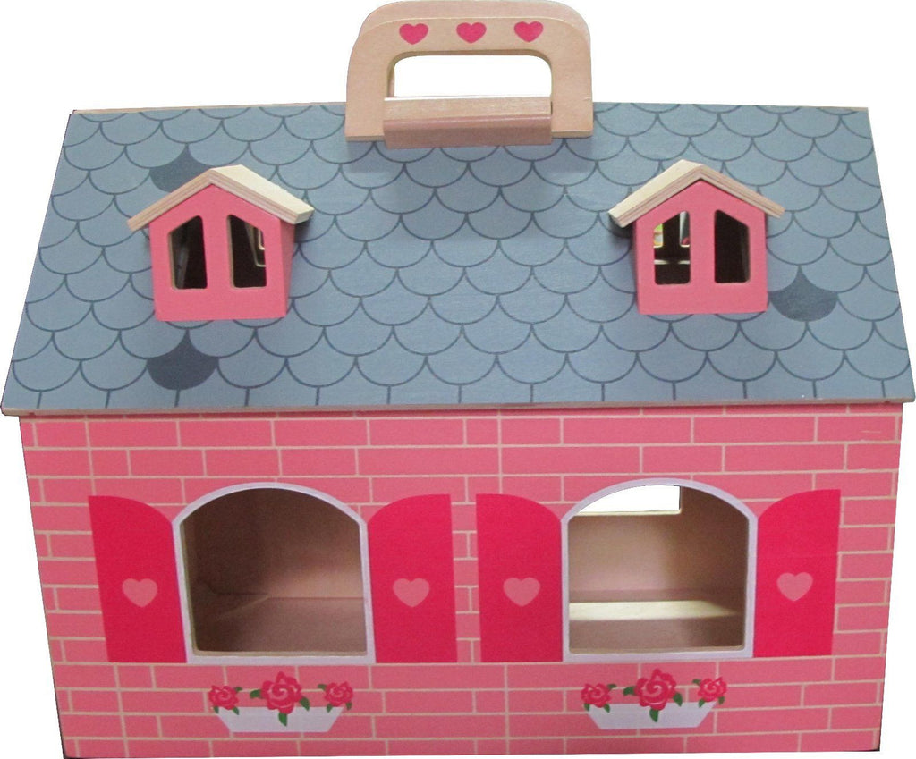 Pink Doll's House - Two Storey Opening/Closing 19 piece with Handle