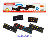 Wooden Toy Traditional 'Double Six' Engraved Black Dominoes Set of 28 with Rules
