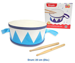 20cm Wooden Toy Drum with Straps and two Sticks