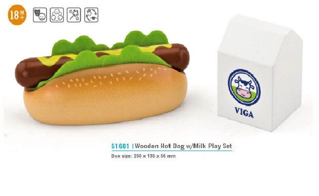 VIGA - Wooden Hot Dog w/ Milk Play Set