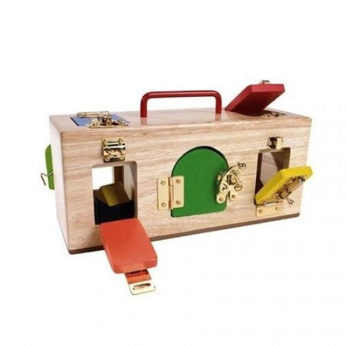MAMAGENIUS  3 compartment Wooden Lock Activity Box with 10 asst Locks & Colouted Doors