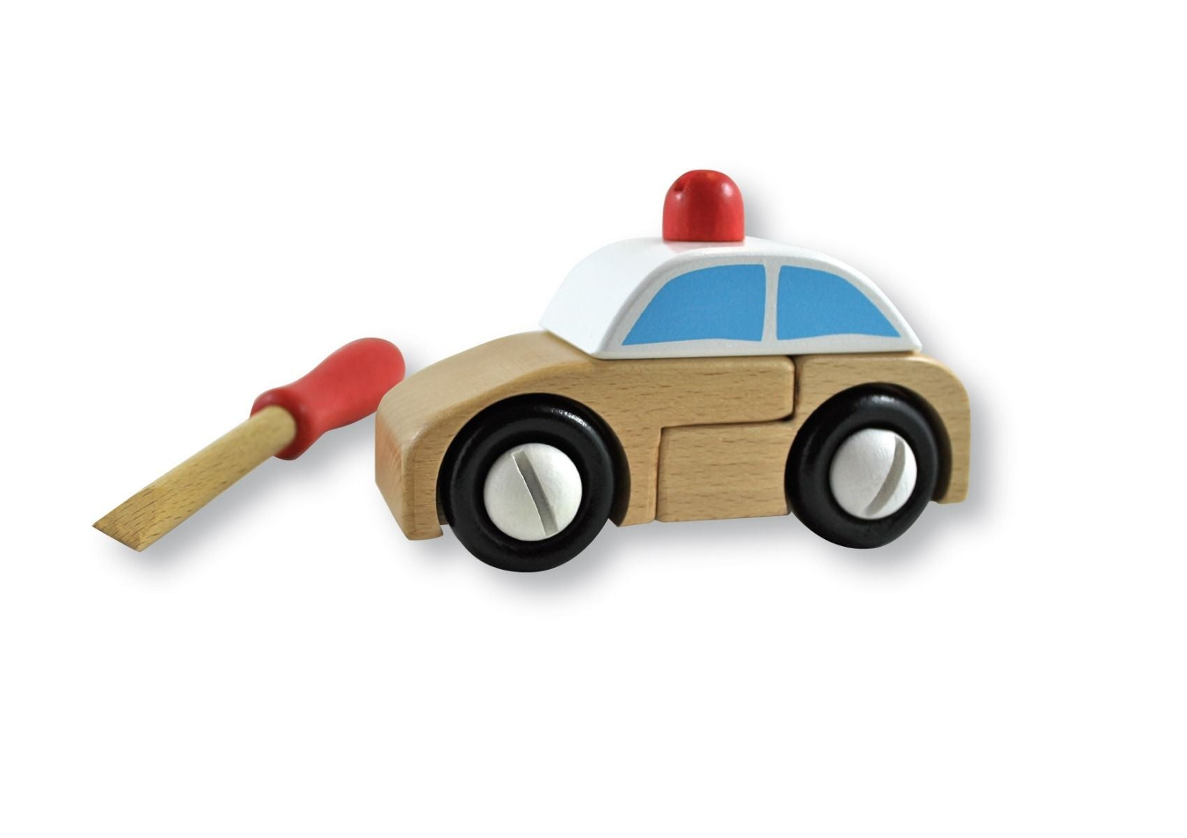DISCOVEROO Build a Police Car - 13 Pc Wooden Construction Set