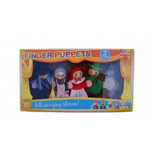 FUN FACTORY - Wooden 'Little Red Riding Hood' Finger Puppets with 3 Bedtime Stories