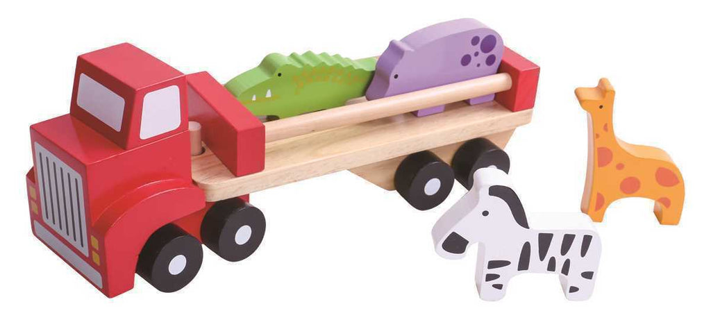 "TOOKY TOYS Wooden Toy 6pce ""Animal Truck"" with 4 Animals, Trailer & Rig"
