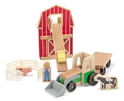 Wooden Farm Tractor and Carraige with Cattle, Cargo, Barn Door, Ramp & Farmer