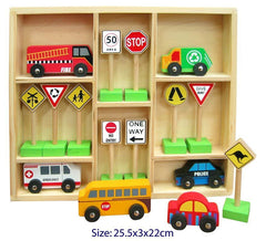 16 pce Wooden Toy Cars and Traffic Signs in Wooden Box
