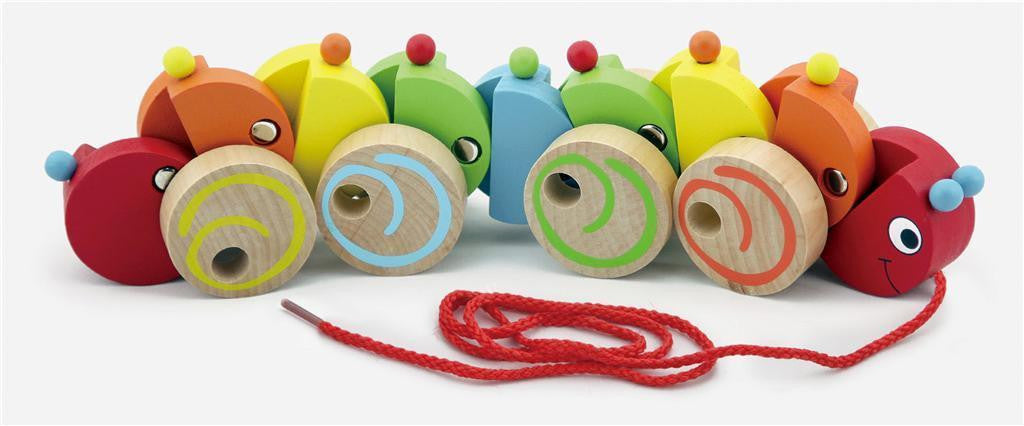 Wooden Toy Infants Multi-Colour Pull-a-long Caterpillar w/ 9 segments & 65cm cord