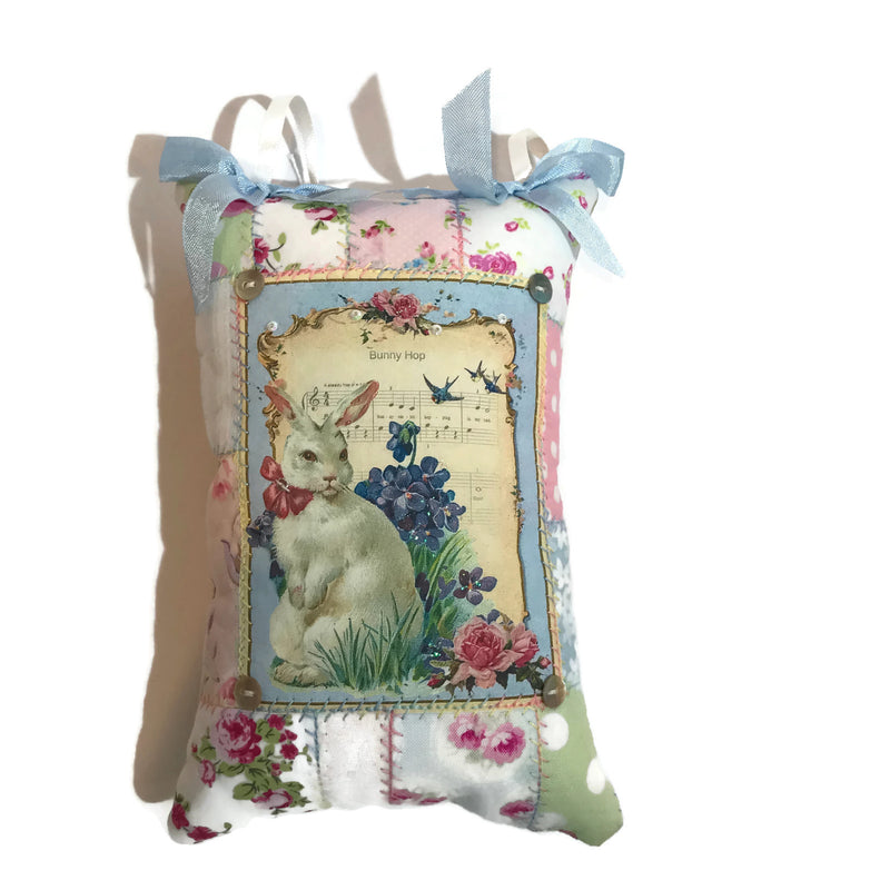 Hanging Pillow - Easter Bunny - light blue ties