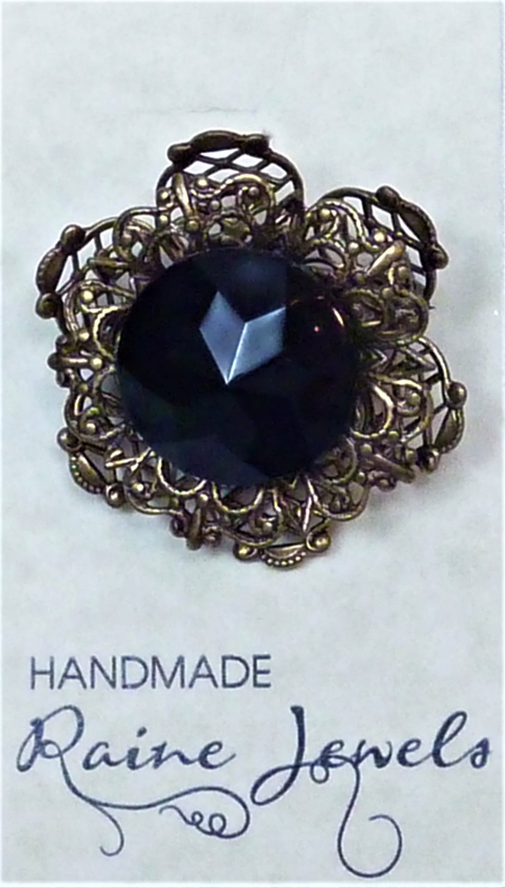 Brooch Czech Glass Black