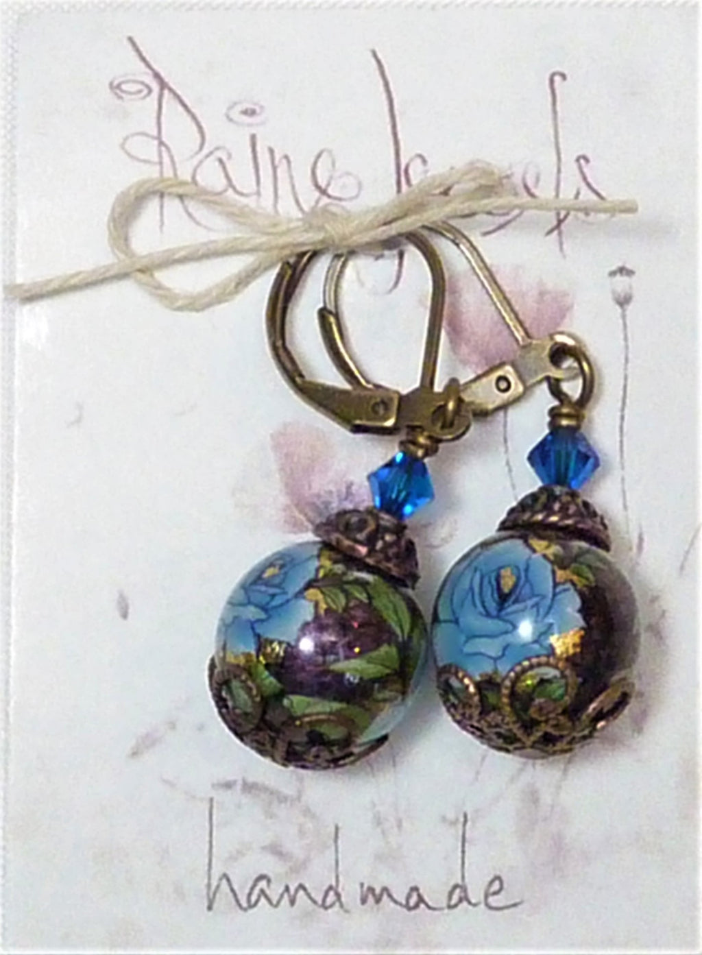 Decal Floral Earrings purple blue rose