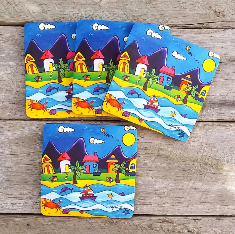 Coasters - Beach Town with Kite