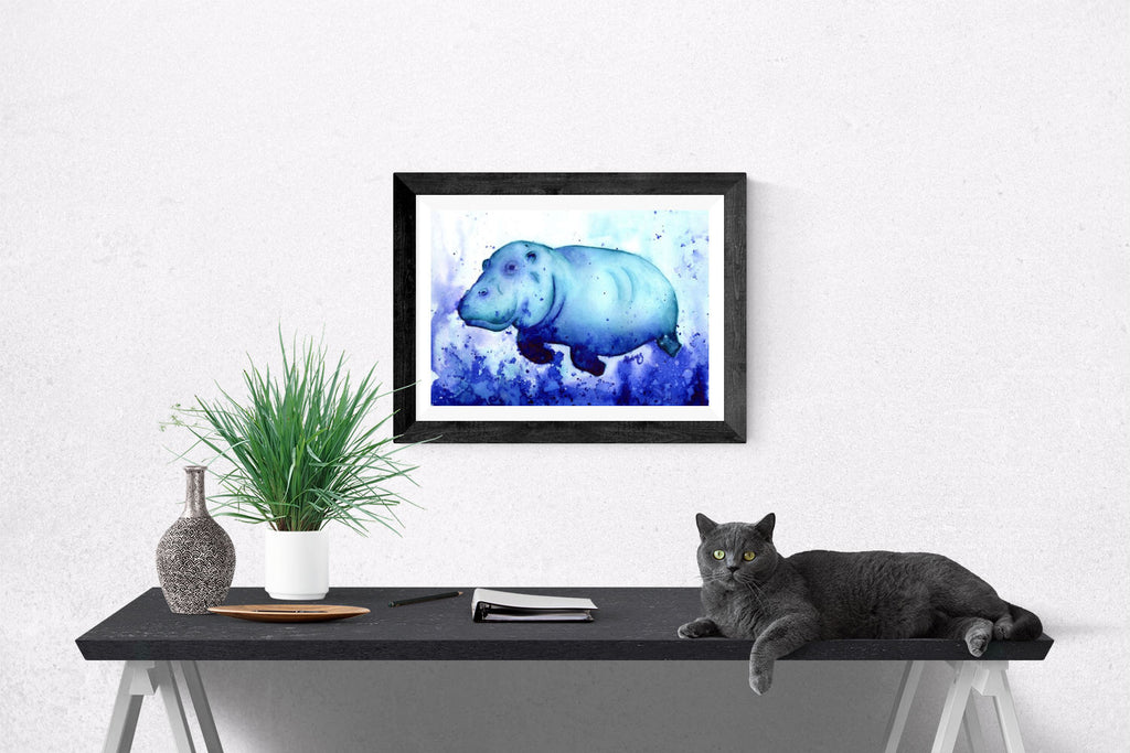 Happy Hippo Watercolour Giclee Print