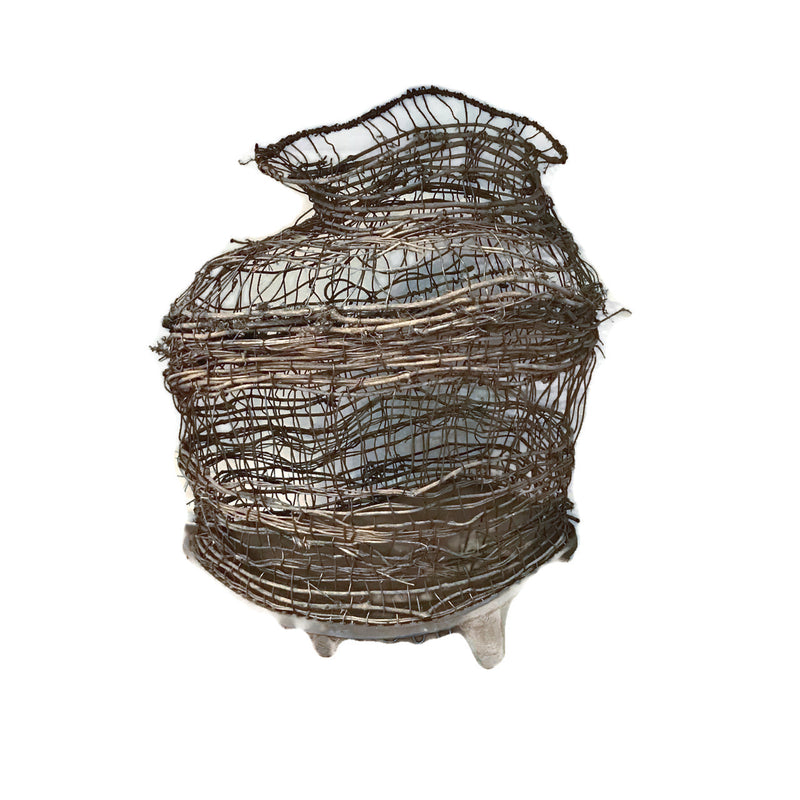 Recycled mixed media tall basket STONEWARE fired