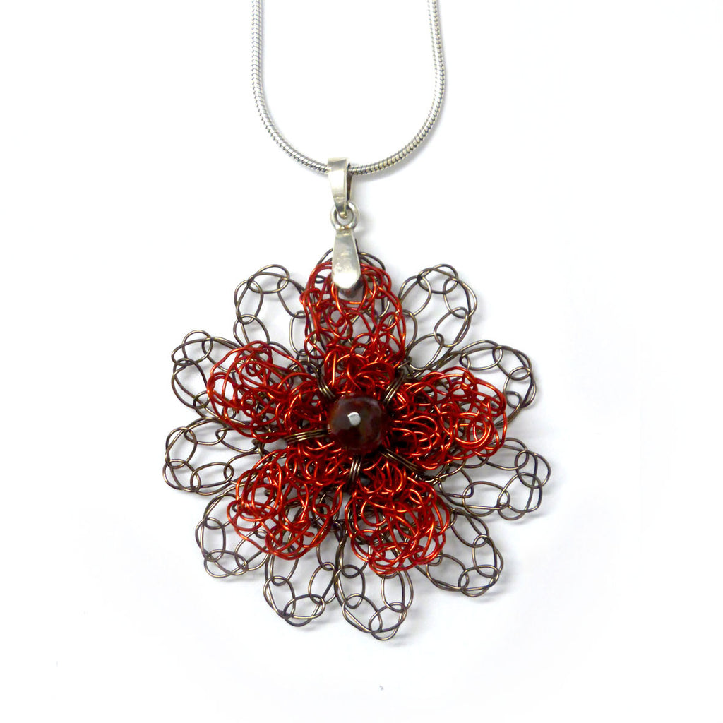 Flower pendant - bronze/red