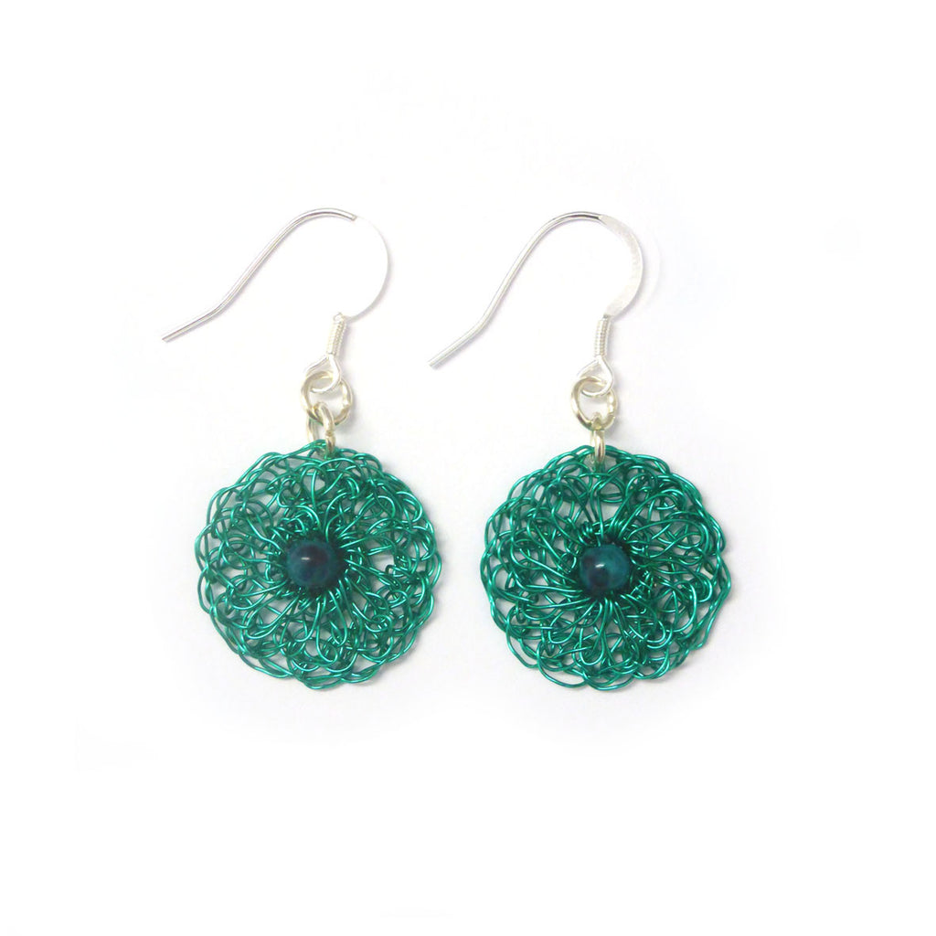 Round earrings - Green with turquoise