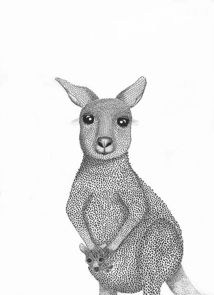 A4 Animal Illustration Prints - Kangaroo with joey