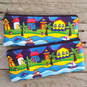 Pencil Case / Pouch - Beach Town and Kite, Dolphin & Boats