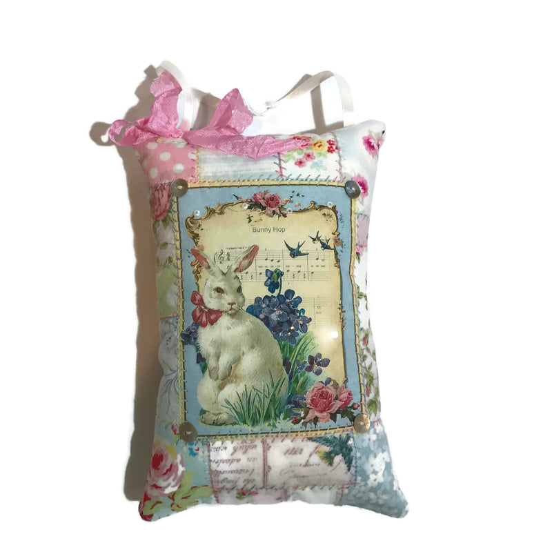 Hanging Pillow - Easter Bunny - deep pink ties