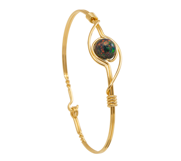Black Opal Bracelet - Gold band