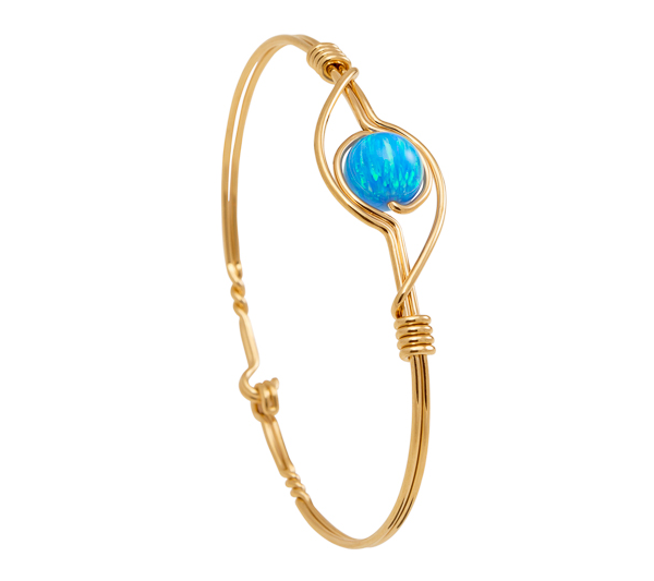 Blue Opal Bracelet - Gold band