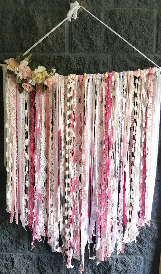 Pink lace wall hanger