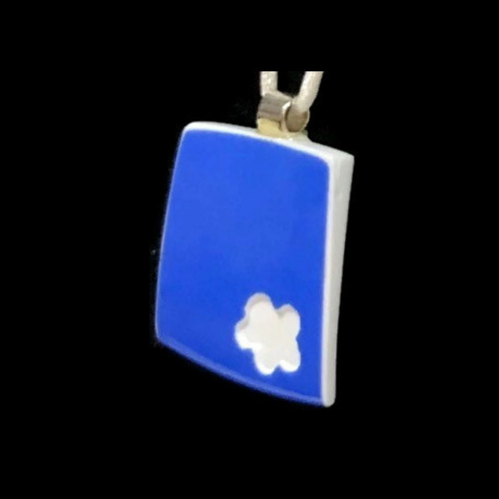 Blue Square Pendant with White Flower