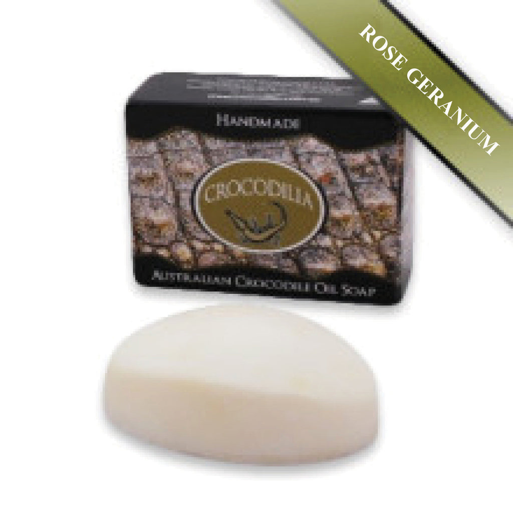 Rose Geranium Australian Crocodile Oil Soap (Oval shape) 50g