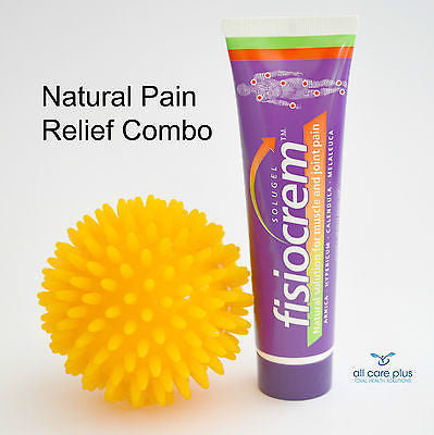 Natural pain relief and massage - Spiky Ball + Fisiocrem