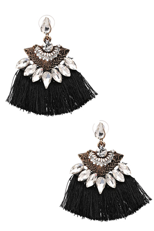 Holly Tassel Earrings in Black